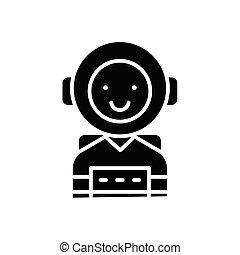 concept., ベクトル, 黒, シンボル, 平ら, アイコン, 人格, 印, 意欲的, illustration.