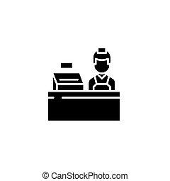 concept., ベクトル, 黒, シンボル, 平ら, アイコン, 印, キャッシャー, illustration.