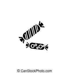 concept., ベクトル, 黒, シンボル, 平ら, アイコン, 印, キャンデー, illustration.