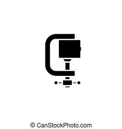 concept., ベクトル, 黒, シンボル, 平ら, アイコン, 印, クランプ, illustration.