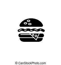 concept., ベクトル, 黒, シンボル, 平ら, アイコン, 印, チーズバーガー, illustration.