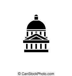 concept., ベクトル, 黒, シンボル, 平ら, アイコン, 印, 国会議事堂, illustration.