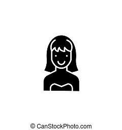 concept., ベクトル, 黒, シンボル, 平ら, アイコン, 印, 女, かなり, illustration.