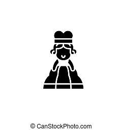 concept., ベクトル, 黒, シンボル, 平ら, アイコン, 印, 女, アフリカ, illustration.