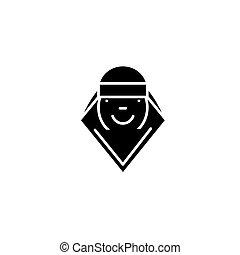 concept., ベクトル, 黒, シンボル, 平ら, アイコン, 印, 女, アラビア人, illustration.