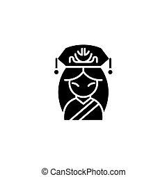 concept., ベクトル, 黒, シンボル, 平ら, アイコン, 印, 女, 中国語, illustration.