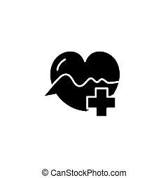 concept., ベクトル, 黒, シンボル, 平ら, アイコン, 心臓学, 印, illustration.