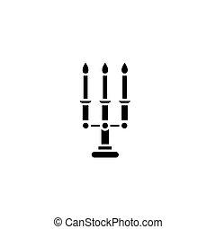 concept., ベクトル, 黒, シンボル, 平ら, アイコン, candelabrum, 印, illustration.