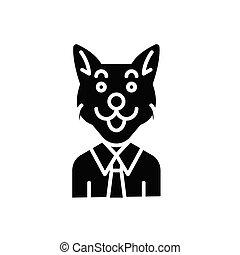 concept., ベクトル, 黒, シンボル, 平ら, アイコン, corruptor, 印, illustration.