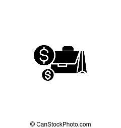 concept., ベクトル, 黒, シンボル, 現金, 平ら, アイコン, 印, illustration.