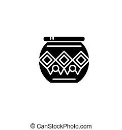 concept., ベクトル, 黒, シンボル, indian, 平ら, アイコン, 印, ポット, illustration.