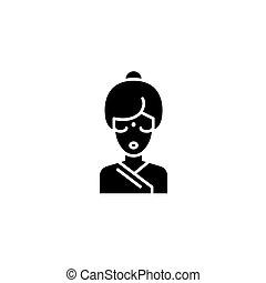 concept., ベクトル, 黒, シンボル, indian, 平ら, アイコン, 印, 女, illustration.