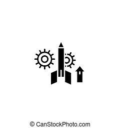 concept., ベクトル, 黒, プロジェクト, シンボル, 始動, 平ら, アイコン, 印, illustration.