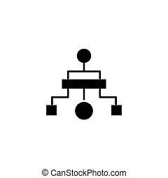 concept., ベクトル, 黒, 図, シンボル, 階層的, アイコン, 平ら, 印, illustration.