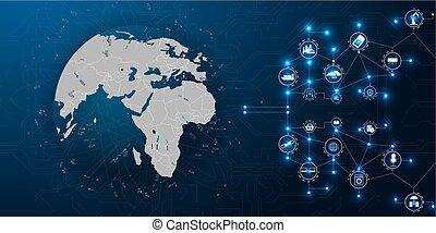concept., ベクトル, communication., 世界的である, グラフィック, 背景, インターネット, もの, business., (iot)., 技術, セキュリティー, network.