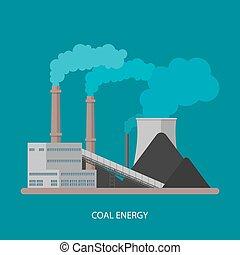 concept., ベクトル, factory., エネルギー, 電気, 産業, 駅, 植物, style., 背景, 石炭, 平ら, イラスト, 力