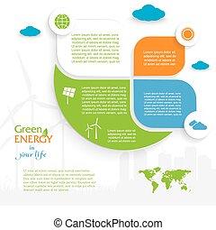 concept., ベクトル, infographic, 緑, デザイン, エネルギー