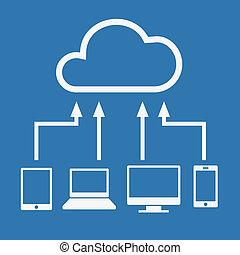 concept., ベクトル, pc, 接続される, のように, 計算, 装置, 雲, コンピュータ, ラップトップ, ...
