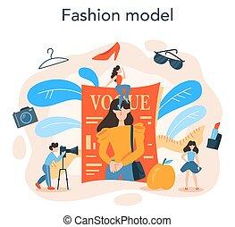concept., モデル, ファッション, 人, 衣服, 表しなさい, 新しい女性