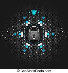 concept., 世界的である, 錠, 暗い, バックグラウンド。, ベクトル, 回路, 技術的である, board., セキュリティー, 六角形, 抽象的, design.