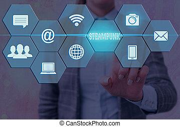 concept., 執筆, showcasing, ビジネス, 19thcentury, デジタル, 格子, societies, 別, 技術, 支配された, メモ, アイコン, 取引, 写真, 最も遅く, 科学, steampunk., 提示, フィクション