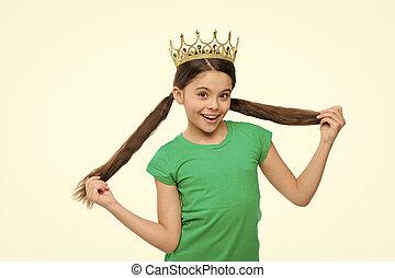 concept., 学校, ウエア, 子供, あらゆる, 開発, upbringing., 夢を見ること, princess., わずかしか, なる, 女, かわいい, エリート, シンボル, 王冠, 特典, 金, 女性, 皇族, 子供, 女の子