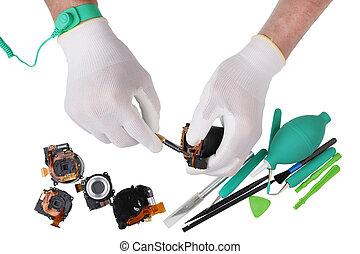 concept., 専門家, 修理, デジタル, 写真, レンズ, 中心, カメラ, ヨーロッパ, 現代, サービス