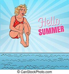 concept., 幸せ, ベクトル, 跳躍, ポンとはじけなさい, sea., イラスト, 芸術, 夏, 女, 休暇, こんにちは, 浜