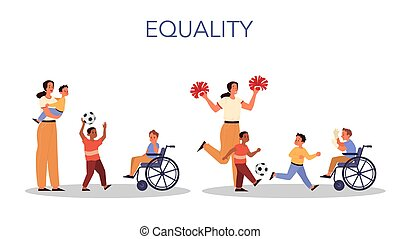 concept., 息子, 彼女, equality., 親であること, 女, 教えなさい, 子供, 後ろ足で立つ