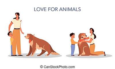 concept., 息子, 愛, 彼女, 親であること, 女, 教えなさい, 子供, animals., 後ろ足で立つ