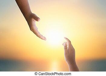 concept:, 手, シルエット, インターナショナル, 日, 助け, 平和