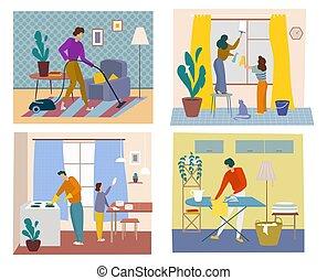 concept., 打扫, 时间, 窗口, 人们, 盘子, 地毯, 一起, 清扫, 真空, 光滑明亮, 房子, 厨房