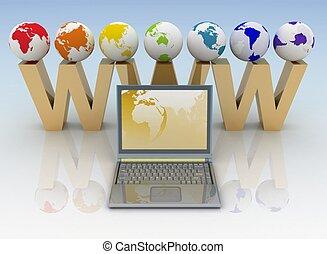 concept., 提供, 網際網路, illustration., 3d