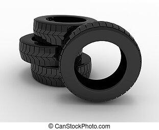 concept., 提供, 輪胎, 插圖, 3d