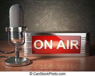 concept., 放送, 型のラジオ, 駅, マイクロフォン, 空気。, 看板