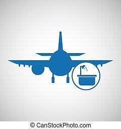 concept., 旅行, シルエット, hotel., gra, 青, デザイン, plane., サービス