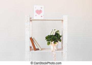 concept., 日, 内部, 本, 春, 植物, bookshelf., 屋内, moter's, 最小である, ...