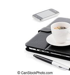 concept., 朝のコーヒー, ビジネス, カップ