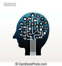 concept., 木, 人間, 革新, head., 技術