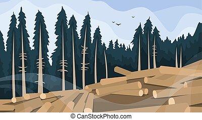 concept., 木, 破壊, 森林, 山林伐採, たたき切る