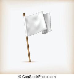 concept., 現実的, 旗, ベクトル, icon., 白, 降伏, 旗, template.