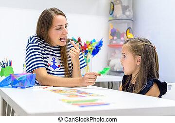 concept., 発音, therapist., 正しい, スピーチ, 練習する, 女性, 療法, 幼稚園児, 子供