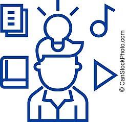 concept., 線, ベクトル, 特性, シンボル, 知的, 平ら, アイコン, 印, 権利, アウトライン, illustration.