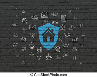 concept:, 背景, 保護, ビジネス, 壁