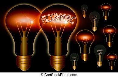 concept., 装置, 単語, 電球, 概念, 執筆, ビジネス, 準備, 型, 現実的, 印, 考え, 教育, ...