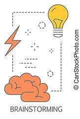 concept., 解決, 考え, 見つけること, 問題, ひらめき