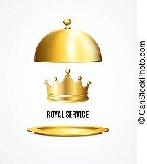 concept., 詳しい, 皇族, 3d, サービス, 王冠, 現実的, 金, ベクトル