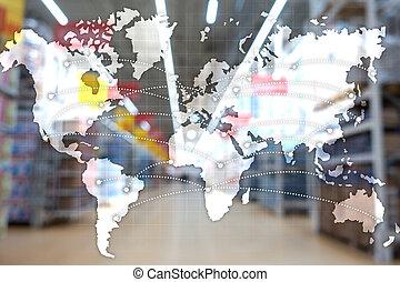 concept., 輸入, 世界的である, partnership., エクスポート, ロジスティクス, 地図