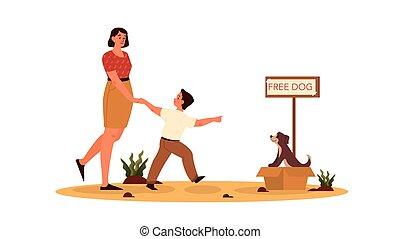 concept., 養子にする, dog., 息子, かわいい, 犬, 彼女, お母さん, rersponsibility, そうさせられた