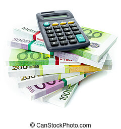 concept., 계산서, 재정, 유러, 회계, 계산기
